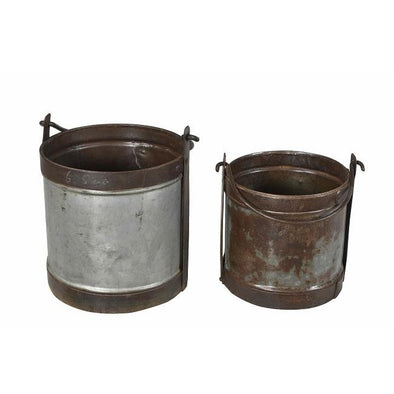 Round Iron Bucket with Handle- Large