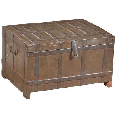 Small original Vintage Iron & Wood Chest