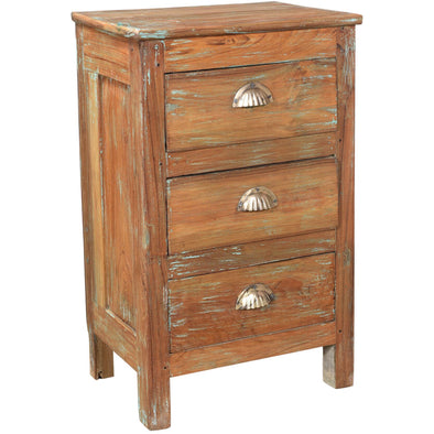 Small 3 Drawer Chest w/ Brass Handles - Natural