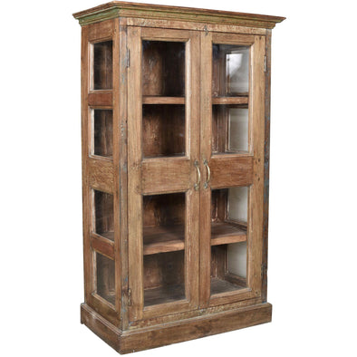 Natural Wooden Glass Cabinet