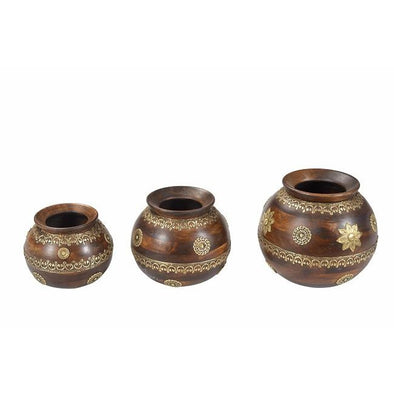 Wooden Pot with Brass Inlay Detail- 3 Sizes