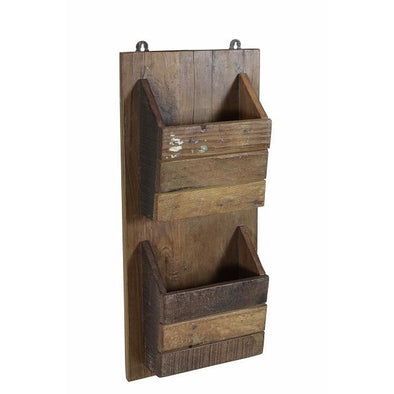Wooden 2 Pocket Wall Hanging Stand