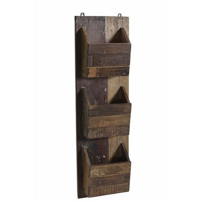 Wooden 3 Pocket Wall Hanging Stand