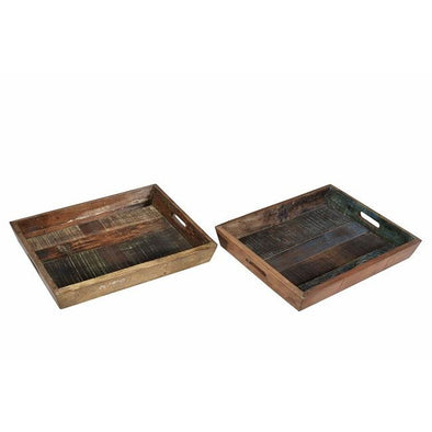 Wooden Tray with Cutout Handles
