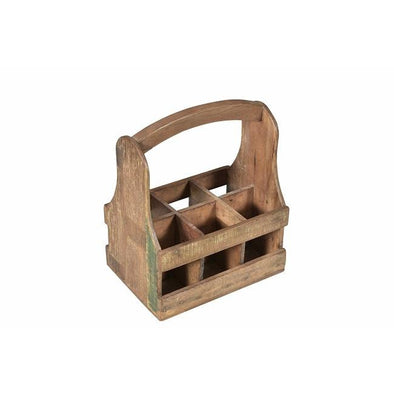 Wooden 6 Bottle Crate with Handle