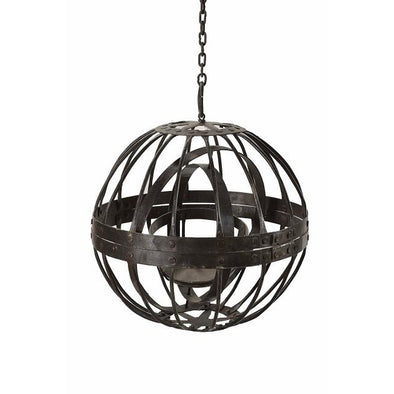 Round Iron Hanging Lantern with Chain- Small