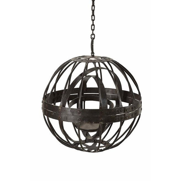 Round Iron Hanging Lantern with Chain- Medium