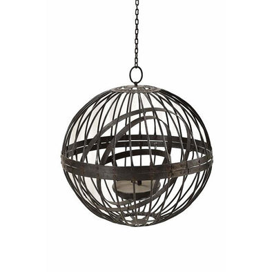 Round Iron Lantern with Hanging Chain- Large