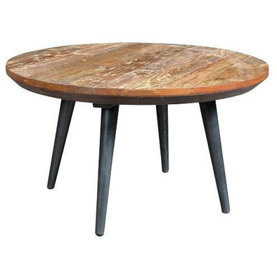 Retro Style Round Wood & Iron Coffee Table