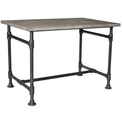 Simple Industrial Style Teak Wood & Iron Writing Desk