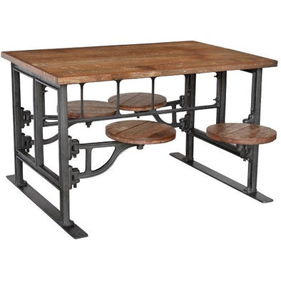 Industrial Style Dining Table with Inbuilt Seating