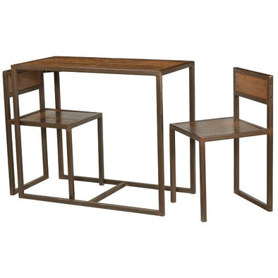 Small Wood & Iron Table & Chair Set