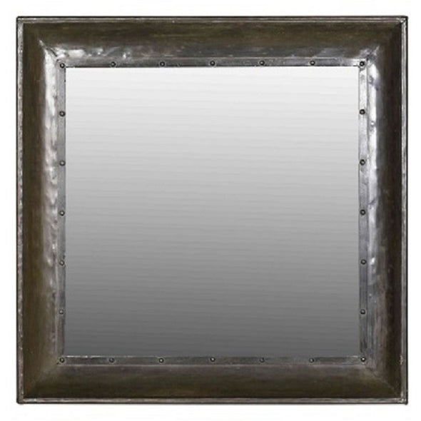 Recycled Iron Frame Square Mirror - Black
