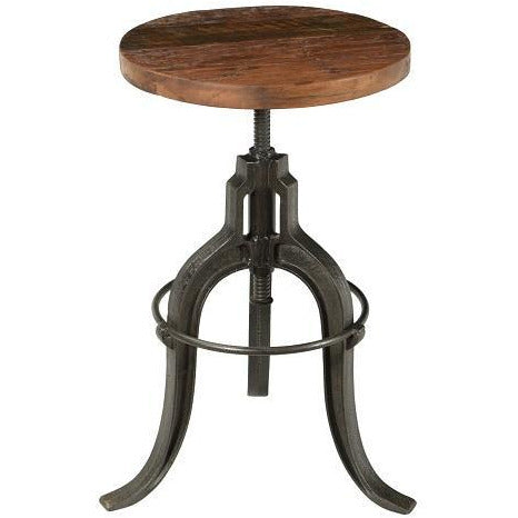 Teak Wood & Iron Adjustable Height Bar Stool/ Side Table