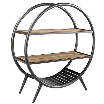 Wood & Iron Round Retro Style Shelves
