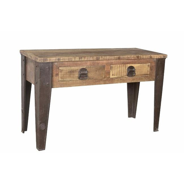 Recycled Wood & Iron Hall Table with 2 Drawers