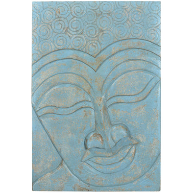 Buddha Wooden Panel Art - Antique Blue