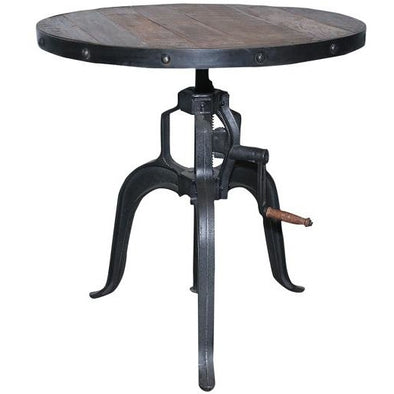 Adjustable Height Wood & Iron Dining/Bar Table - Small