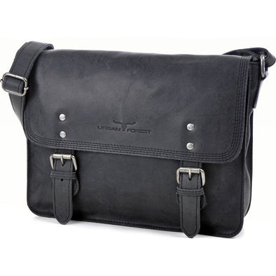 Apache Small Leather Satchel Bag - Black