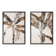 Banana Palm Print With Black Glass Frame 2 Assorted