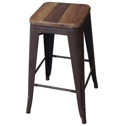 Tall Industrial Stool With Elm Wood Top