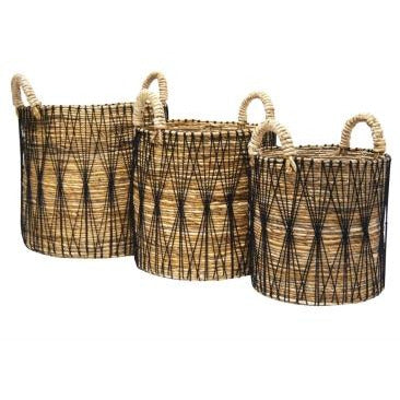 Akabar Woven Detail Storage Baskets 3 Sizes