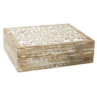 Basu Carved Box -White wash