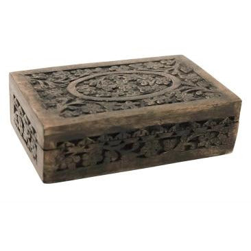 Basu Wooden Carved Box Dark Finish