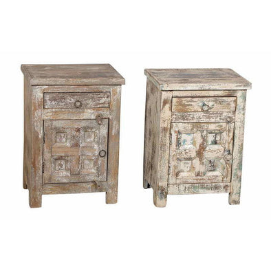 Antique Whitewash Panelled Side Table