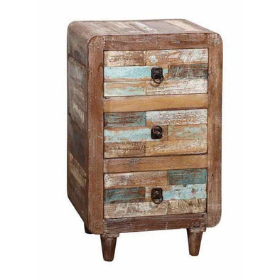 Recycled Teak Wood Bedside Table w/3 Drawers
