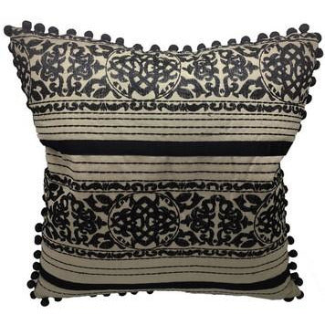Embroidered Black/ Natural Cotton Cushion