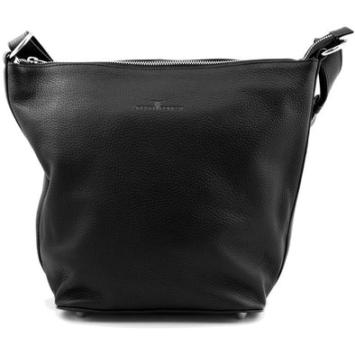 Lotus Leather Hand/Shoulder Bag- Black