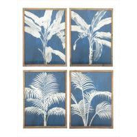 Blue Palm Glass Framed Print - 4 Assorted Designs
