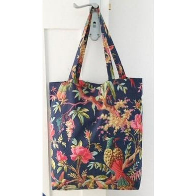 Paradise Navy Cotton Tote Bag