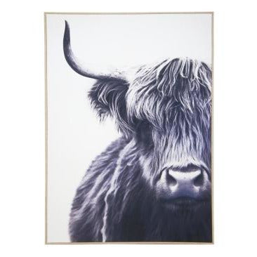 Highland Bull Canvas With Natural frame 100cm x 140cm