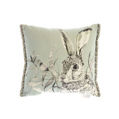 Hare Velvet Cushion- Duck Egg Blue
