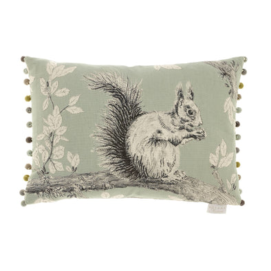 Squirrel Linen Cushion- Silver
