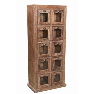 Wooden 10 Glass Square Drawers Cabinet