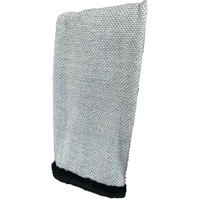 Luxury Cashmere Throw with Rabbit Fur Trim.