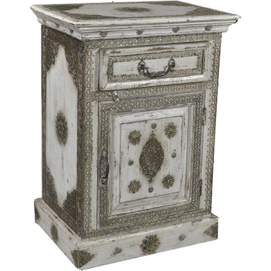 French Style Bedside Table with Brass Inlay Detail
