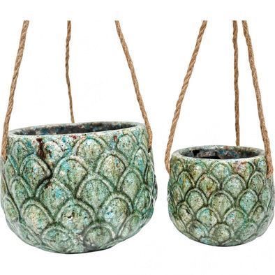 Hanging Pots Set of 2 Pineapple Ocean