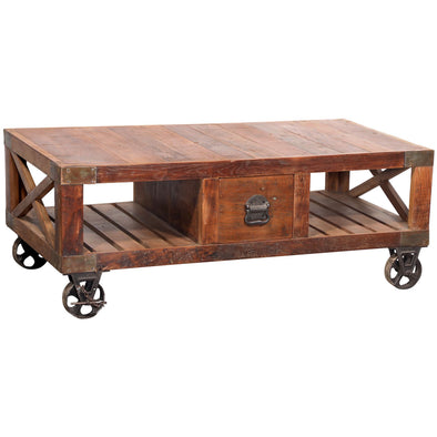 Recycled Wood with Iron Wheels Coffee Table