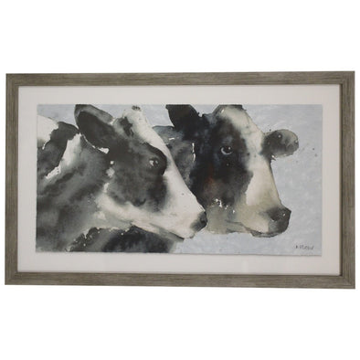Framed Glass Print- Watercolour Cows