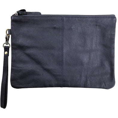 Paulette Large Leather Clutch - Navy