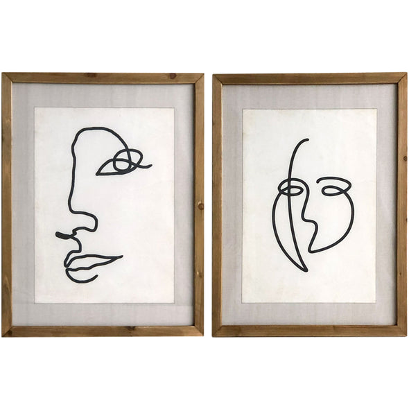 Wooden Glass Framed Face Sketches 2 Assorted
