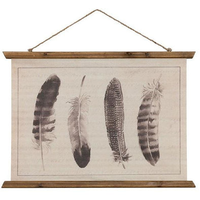 Vintage Feather Canvas Scroll  Picture