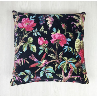 Velvet Bird of Paradise Cushion - Black