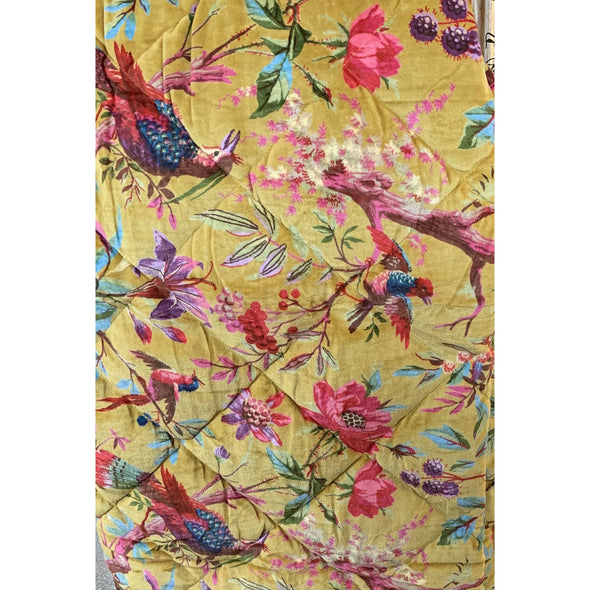 Bird Of Paradise Quilted Velvet Throw- Ochre