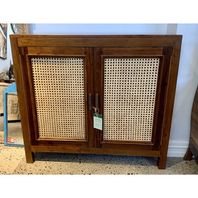 Recycled Teak & Rattan Cabinet