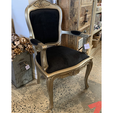 French Style Chair Antique Silver/Black